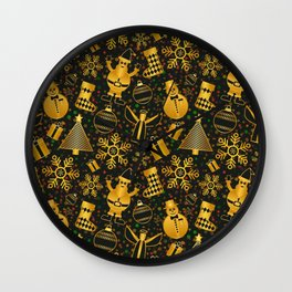 Golden Christmas Wall Clock