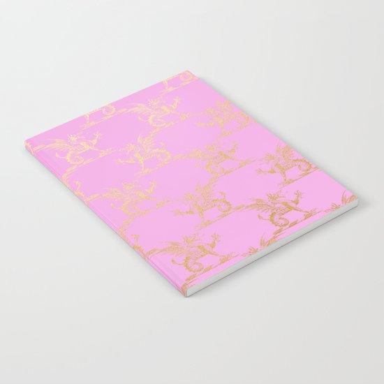 Princess like I - Gold glitter lion pattern on pink backround Notebook
