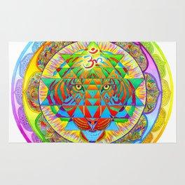 Inner Strength Psychedelic Tiger Sri Yantra Mandala Rug