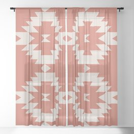 Southwestern Minimalism - Coral Red Sheer Curtain