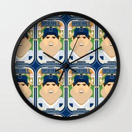 Baseball Blue Pinstripes - Rhubarb Pitchbatter - Bob version Wall Clock