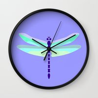 dragonfly Wall Clocks featuring Dragonfly by tuditees