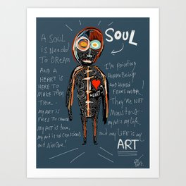 Heart and Soul street art graffiti art brut painting Art Print
