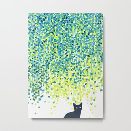 Cat in the garden under willow tree Metal Print