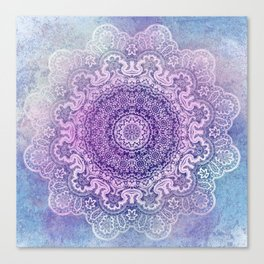 big beauty mandala in pale blues Canvas Print