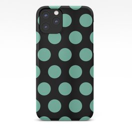 Colorful Mid Century Modern Polka Dots 528 Turquoise and Black iPhone Case