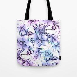 Violet pink teal hand painted sketch elegant floral Tote Bag