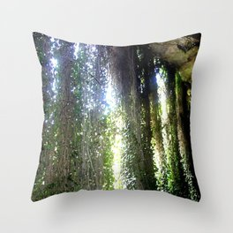 Vines camouflaging a sunken Cave Throw Pillow