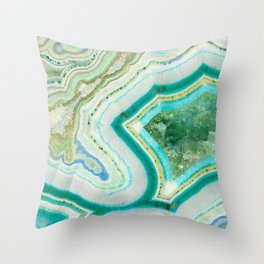 Sea Spray Crystal Agate Slice Throw Pillow