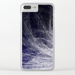 Cyan Texture Feathers Clear iPhone Case
