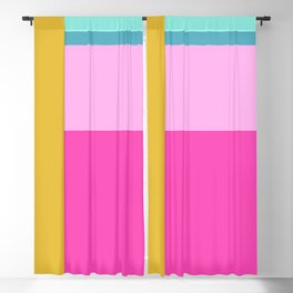 Geometric Bauhaus Style Color Block in Bright Colors Blackout Curtain