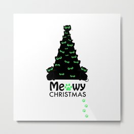 Christmas tree with black cat. ''Meowy Christmas'' text with paw prints. Happy new year greeting car Metal Print