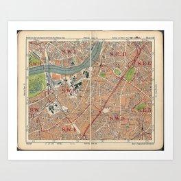 Bacon's Pocket Atlas of London (1921) - 28 Lambeth, Vauxhall, Kennington, North Brixton Art Print