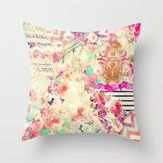 Flowers Mix Vintage Patchwork Throw Pillow