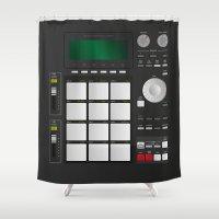 drum Shower Curtains featuring DRUM MACHINE by LTR ARTWORK