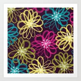 Drybrush Floral Art Print
