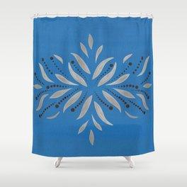 Silver Leafs Blue Bell Scandinavian Folk Art Shower Curtain