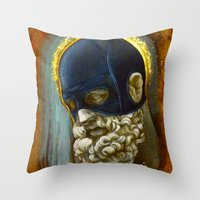 "hercules Throw Pillows featuring ""Masked Hercules"" by Bryan Lanier"