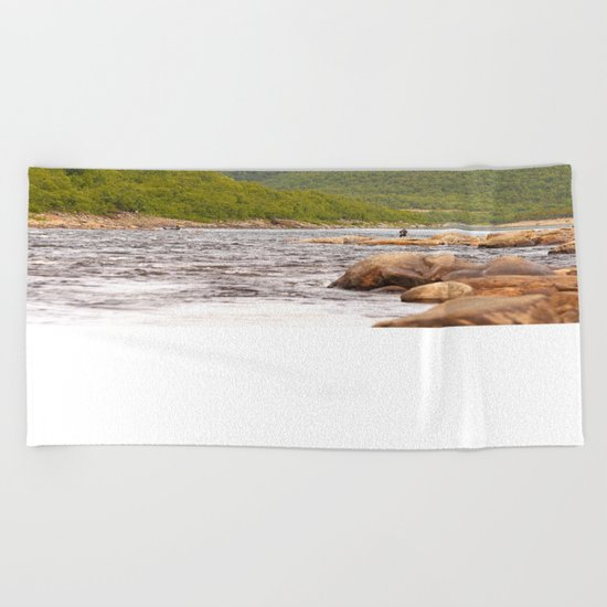 Fly-fishing On The River  Beach Towel