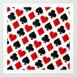 Playing Card Suits Collage Art Print