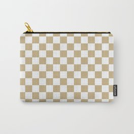 Large Snow White and Christmas Gold Check Carry-All Pouch