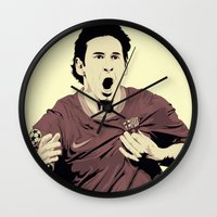 messi Wall Clocks featuring Messi by Renan Lacerda
