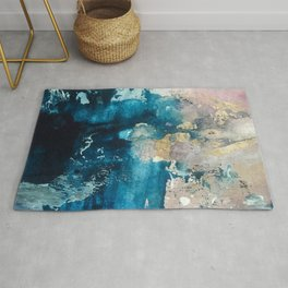 Timeless: A gorgeous, abstract mixed media piece in blue, pink, and gold by Alyssa Hamilton Art Rug