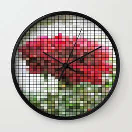 Red Rose with Light 1 Mosaic Wall Clock