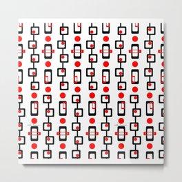 Circles Squares Black Red White Metal Print