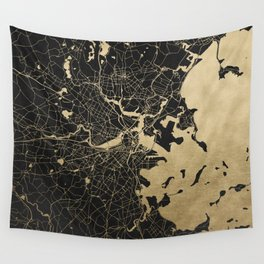 Boston Gold and Black Invert Wall Tapestry