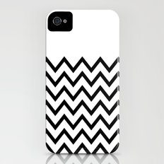 Black Chevron On White iPhone (4, 4s) Slim Case