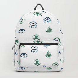 3rd Eye - Evil Eye Watercolor Hand Painted Pattern - Boho Chic - Mystical Backpack
