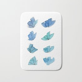 Blue and Green abstract flowers Bath Mat