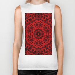 Vibrant red and black wattle mandala Biker Tank