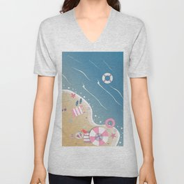 Isolated Beach Paradise with crystal waters Unisex V-Neck
