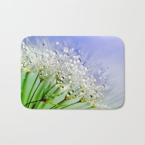 Sparkling drops on a Dandelion- Abstract blue flower Bath Mat