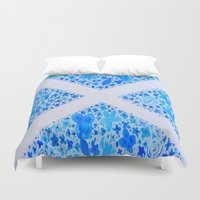 scotland Duvet Covers featuring Oh, Flower of Scotland by Hayley Lang