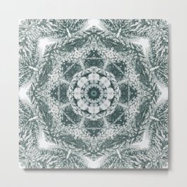Winter snowy spruce forest mandala Metal Print