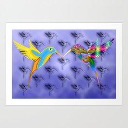 Fantasy birdies pattern Art Print