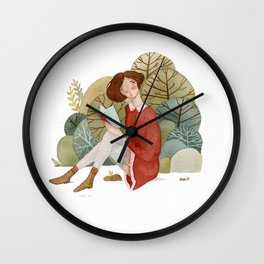 Girl Reading in the Forest Wall Clock