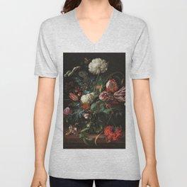 Still Life Parrot Tulips, Peonies, Hibiscus, Hydranga, Periwinkle Flowers in Vase by Jan de Heem Unisex V-Neck