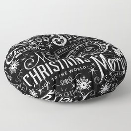 Black and White Christmas Typography Design Floor Pillow