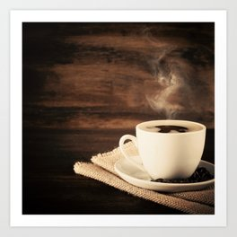 Happiness in a Cup (Porcelain coffee cup over wooden background) Art Print