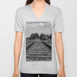 Black and white railway Unisex V-Neck