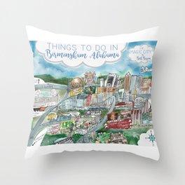 Cartoon Map of Birmingham, Alabama Landmarks Throw Pillow