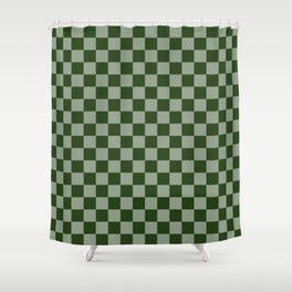 Large Dark Forest Green Checkerboard Pattern Shower Curtain