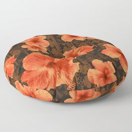 Kalalau Tapa Hawaiian Hibiscus Vintage Inspired Print Floor Pillow