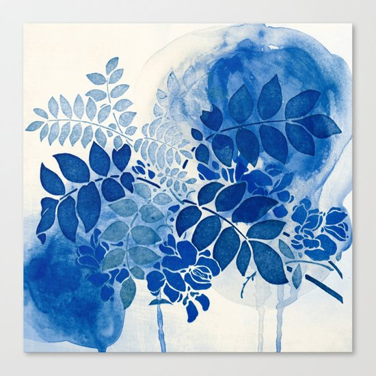 monochrome floral in blue Canvas Print