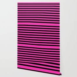 Hot Pink and Black Stripes Wallpaper