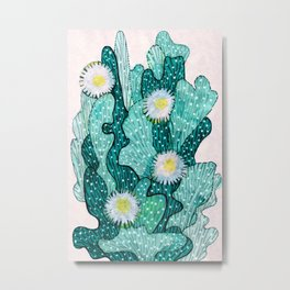 Blooming Cactus  turquoise teal Metal Print